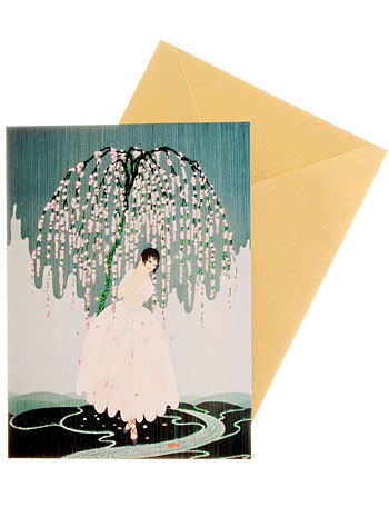 Erte Blossom Umbrella Greeting Cards Set of 6 by Flame Tree Publishing, Books, Blue